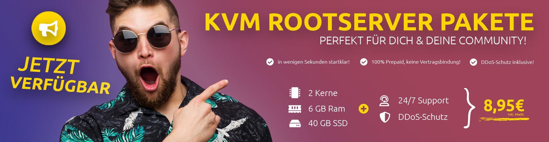 Günstige Prepaid SSD KVM Rootserver Pakete ab 4,95€ pro Monat