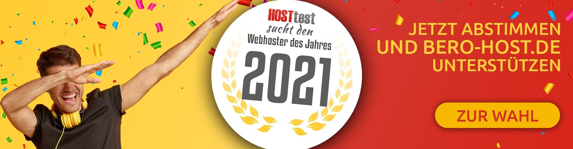 Stimme jetzt für BERO-HOST.DE ab - Webhoster des Jahres 2021
